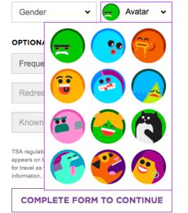 Virgin America's monster avatars