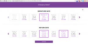 Virgin America Date Select screen